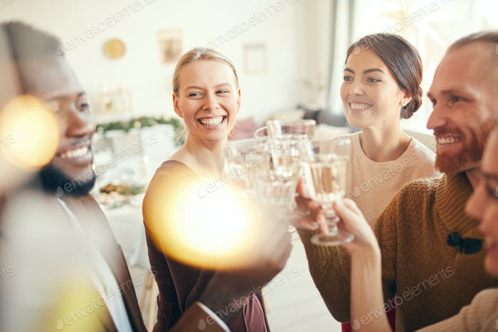 Smiling People Toasting at Christmas Party