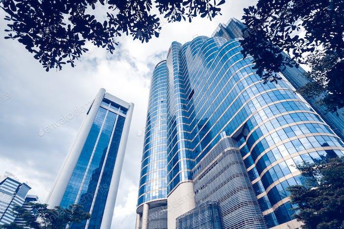 Modern blue glass buildings