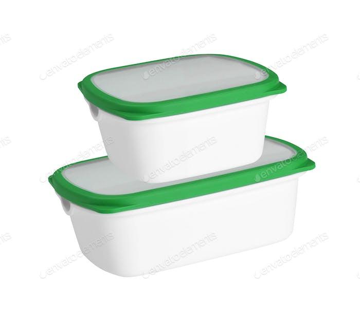 Kunststoffbehälter isoliert auf weißem Hintergrund