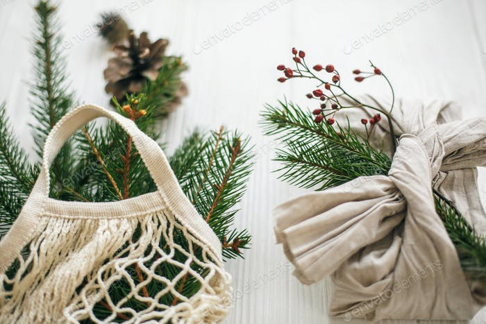 Zero waste Christmas flat lay