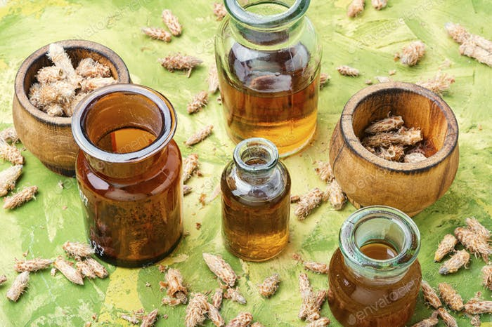 Bottles of tincture of pine buds