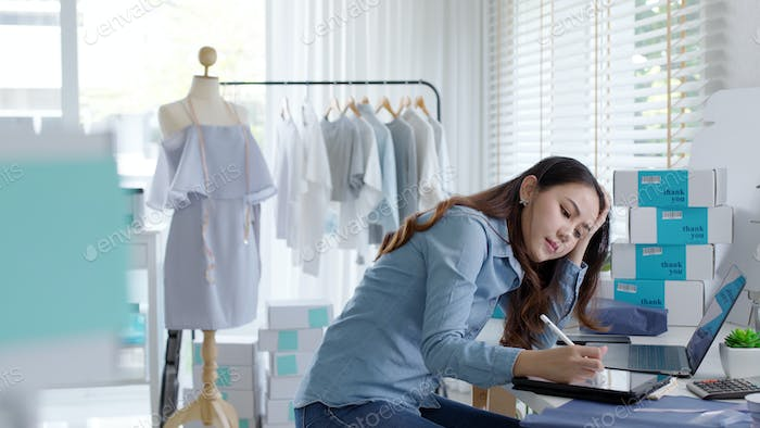 Business owner thoughtful serious doubtful feel stress worry with financial problem
