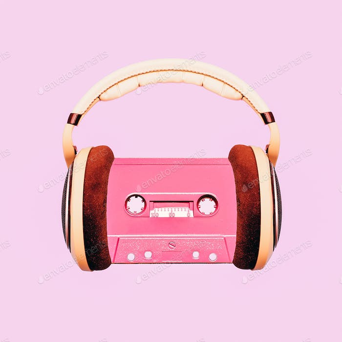 Contemporary art collage. Retro Lover. Audio cassette and headph
