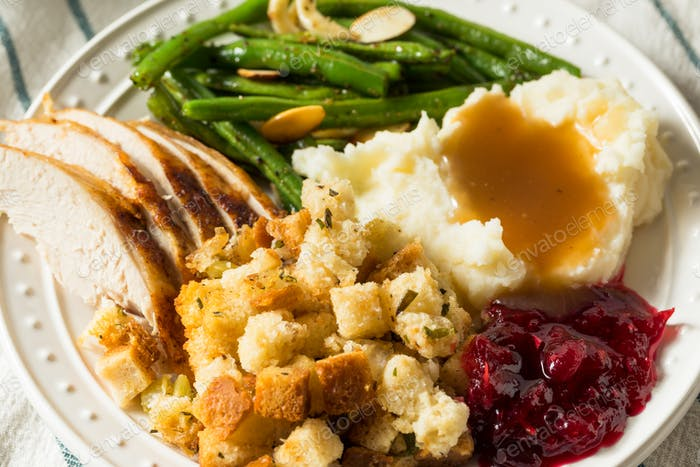 Homemade Thanksgiving Turkey Dinner with Stuffing Potatoes