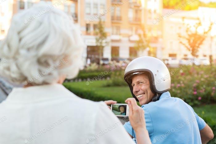 Adult man in helmet smiling