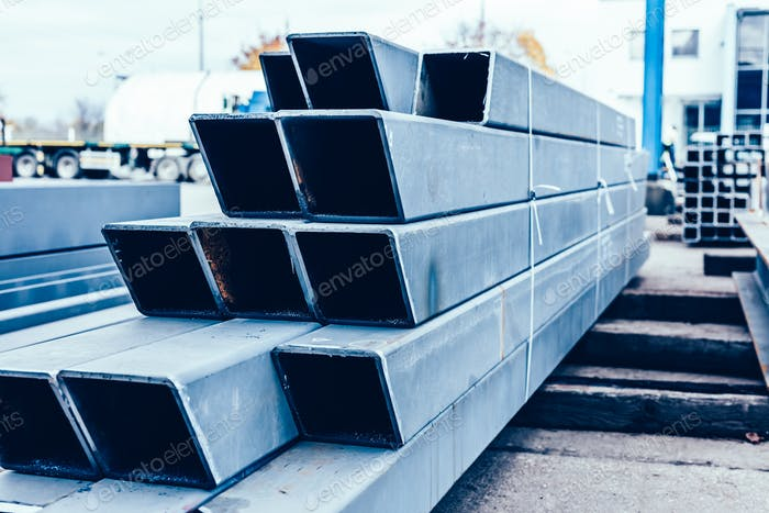 Retaining construction made of stainless steel in shipyard.