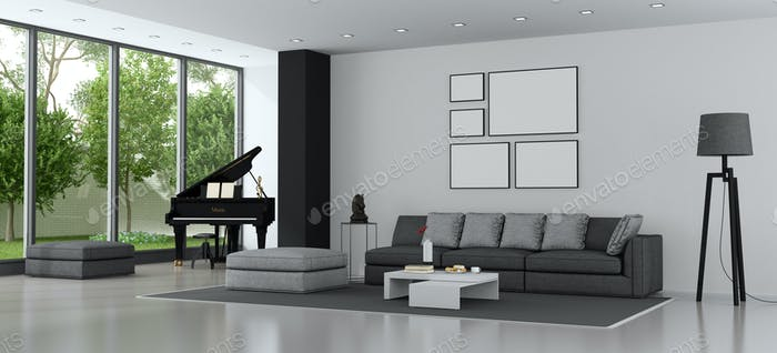 Modern living room with sofa and grand piano