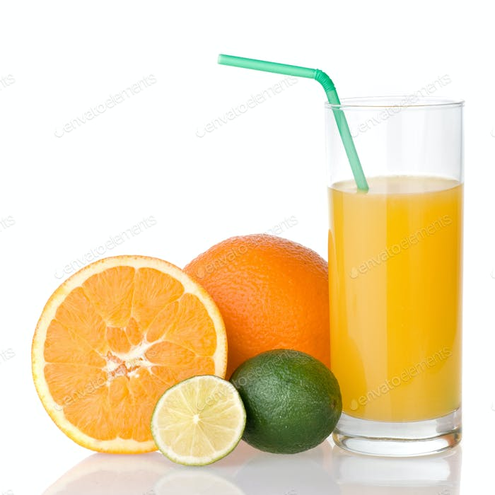 orange juice with straw and orange, lime isolated on white
