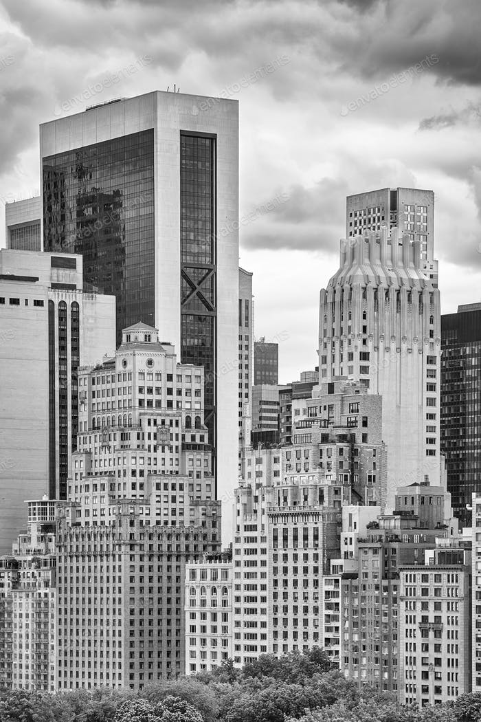 Black and white picture Manhattan architecture, NYC.