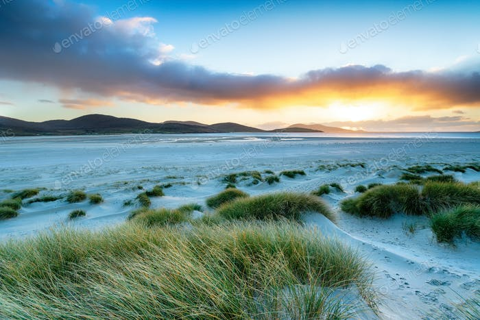 Sunset at Luskentyre Beach in the Western Isles
