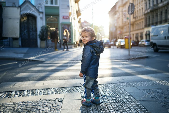 A small toddler boy standing by a road outdoors in city at sunset, looking back.