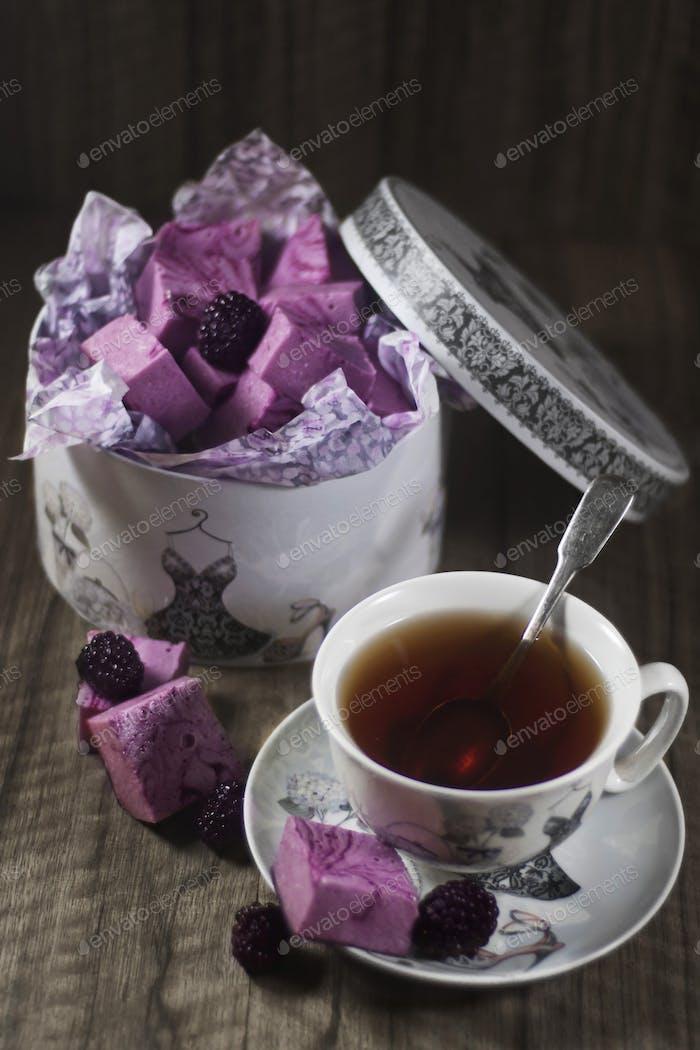 Homemade blackberry marshmallow