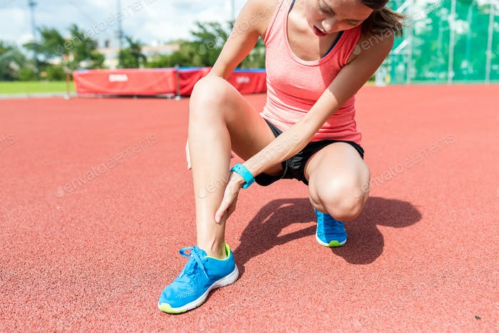 Woman causing ankle sprain