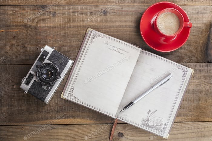 Notebook Camera and Coffee