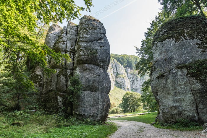 Cracow Gate rock formation in Ojcow National Park, Krakow,Poland