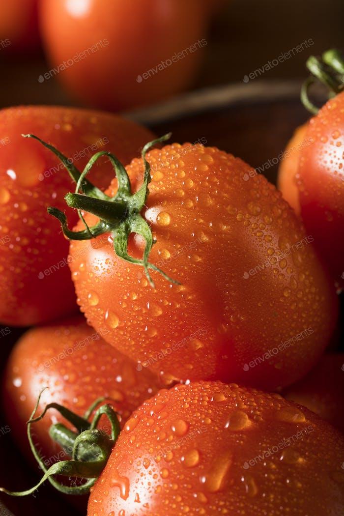Rohe rote Bio-Roma-Tomaten