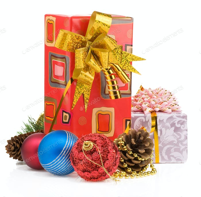 christmas gift box with balls on white