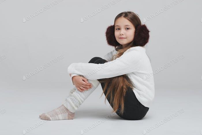 happy girl portirait on white background