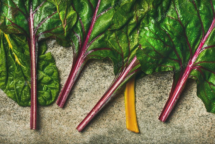 Thumbnail for Flat-lay of fresh green leaves of swiss chard. Vegetarian food
