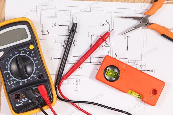 Elektrische Diagramme, Multimeter für die Messung in der Elektroinstallation