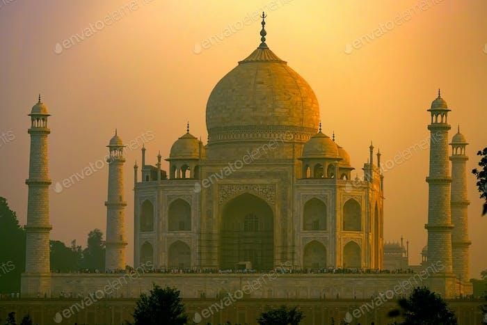 Taj Mahal scenic sunset view in Agra, India