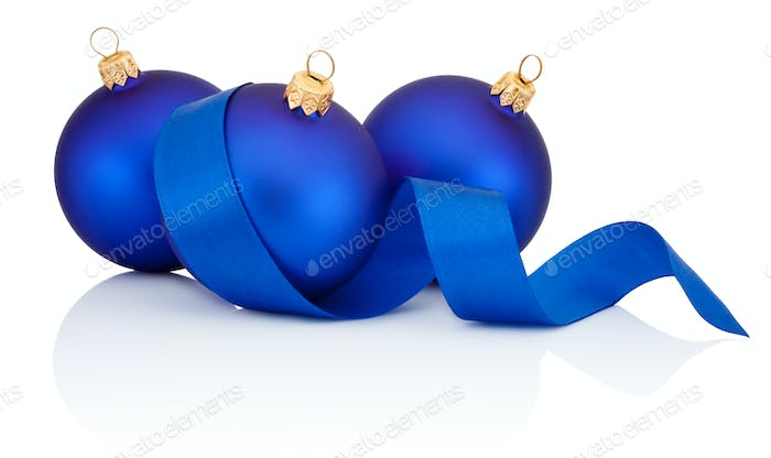 Three Blue Christmas ball covered with curled ribbon Isolated on