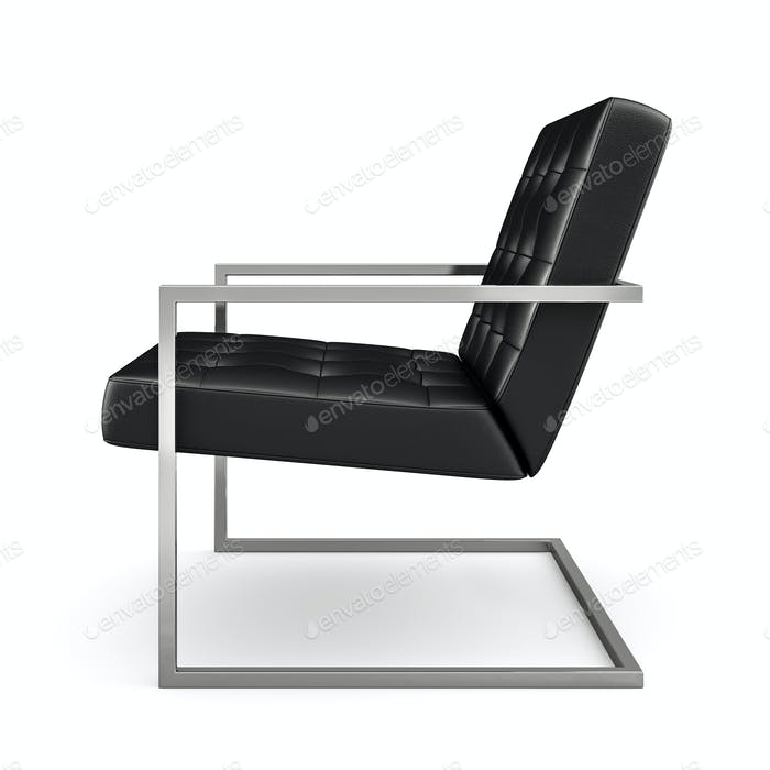 Thumbnail for Black modern armchair isolated on white background 3D rendering