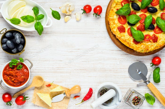 Vegetable Pizza on Copy Space Frame