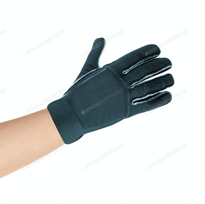 Gray glove on hand