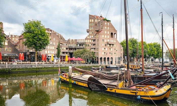 City river marina with sailboats, background, wallpaper.