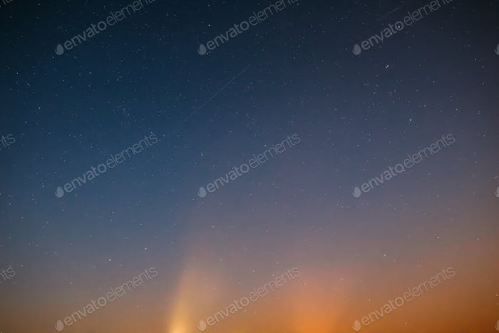 Night Sky Stars Background With Natural Colourful Gradient. Suns