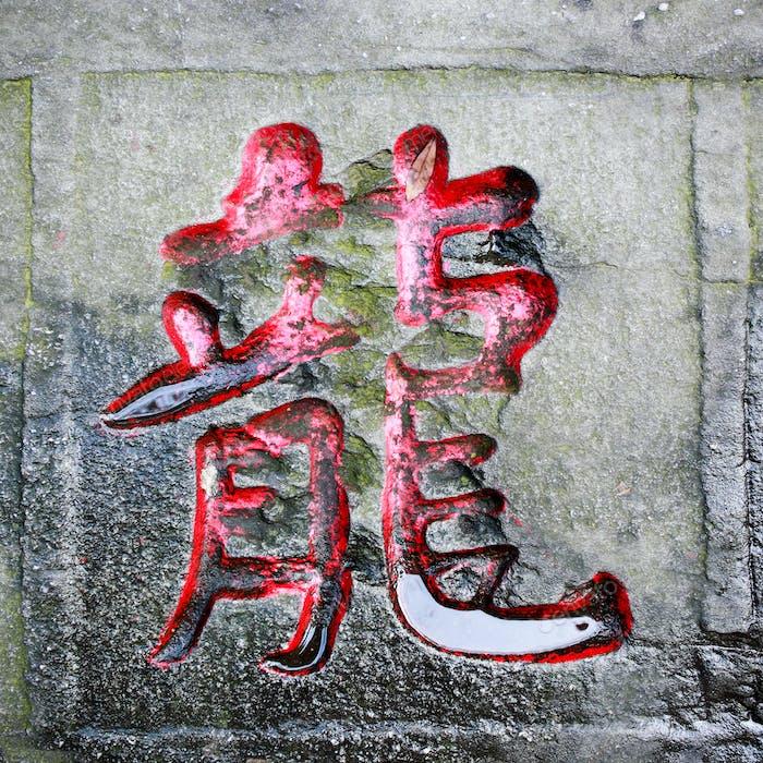 Drachen Wort geschnitzt Stein der chinesischen Kalligraphie