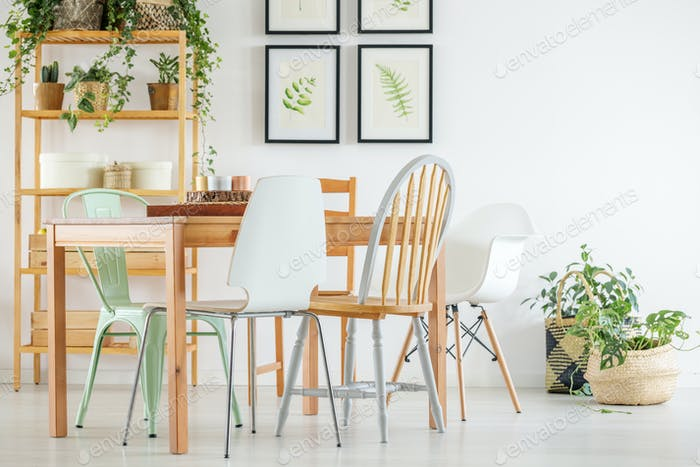 Dining room with botanical posters