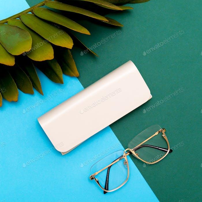 Fashion Eyewear Stylish accessories for women. Flat lay minimal