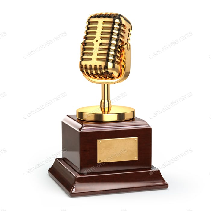 Music or journalism award concept. Gold microphone isolated on w