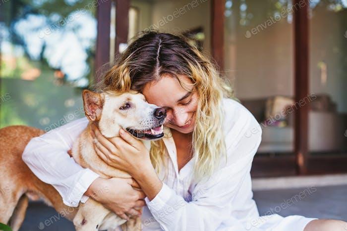 Hugging a Pet