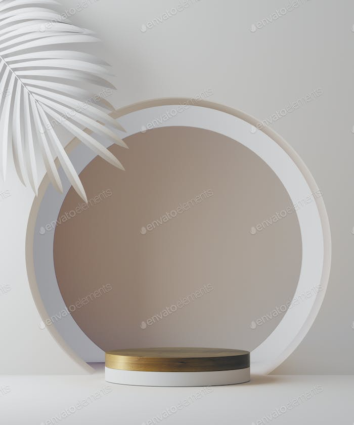 3D illustration geometric pedestal for cosmetic product presentation and palm leaf. Abstract