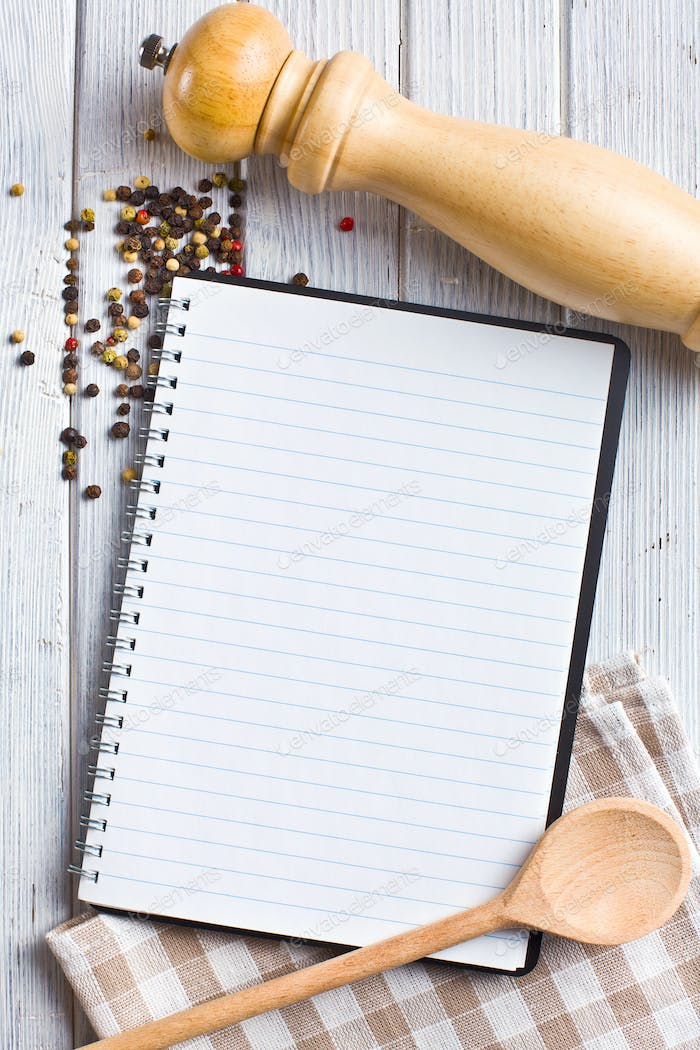 recipe book with pepper spice