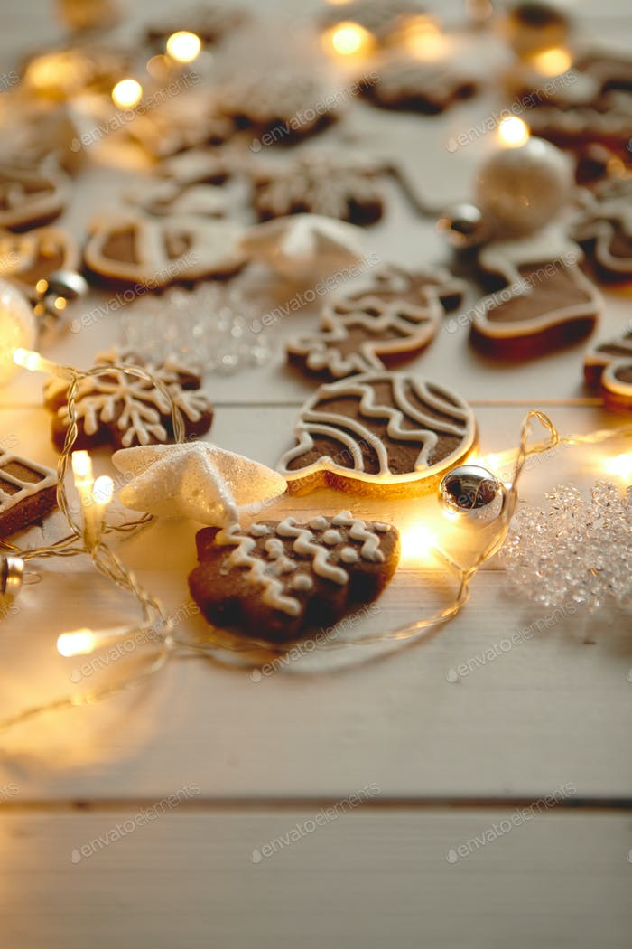 Christmas sweets composition. Gingerbread cookies with xmas decorations