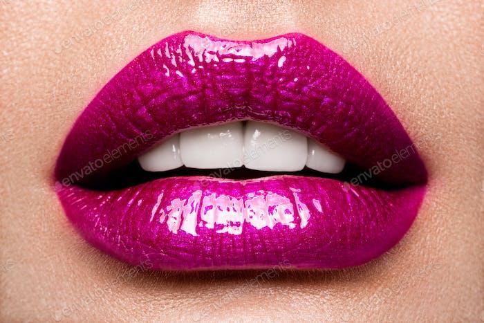 Sexy Lips. Beauty Pink Lips Makeup Detail.