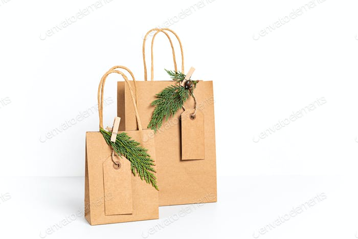 Mockup with craft paper bag. Template for small business branding, gifts, presents