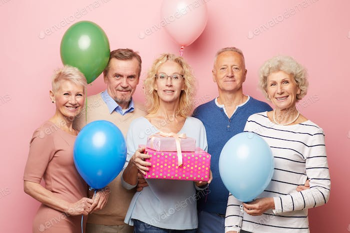 At birthday party of mature lady