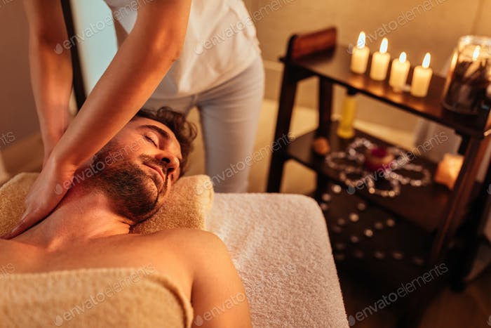 Enjoying head and shoulder massage