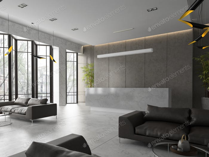 Interior of a hotel spa reception 3D illustration