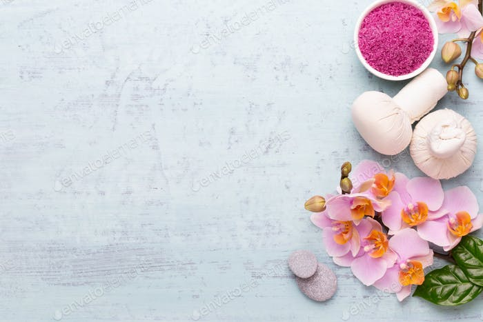 Spa aromatherapy background, flat lay of various beauty care products.