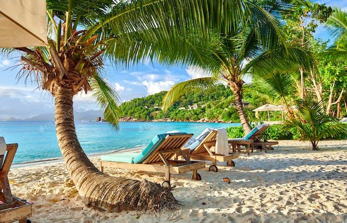 Beautiful Petite Anse beach at Seychelles