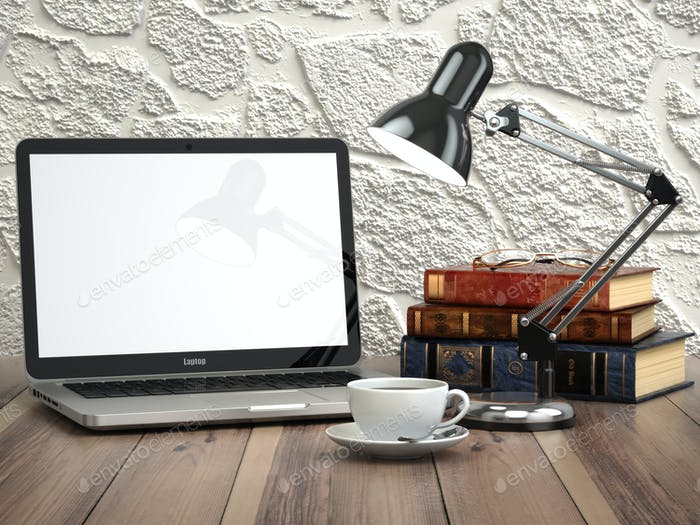 Laptop with books and coffee cup on the vintage desk. Modern sty