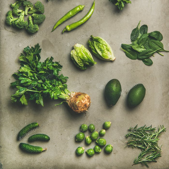 Healthy vegan ingredients layout over concrete table background, square crop