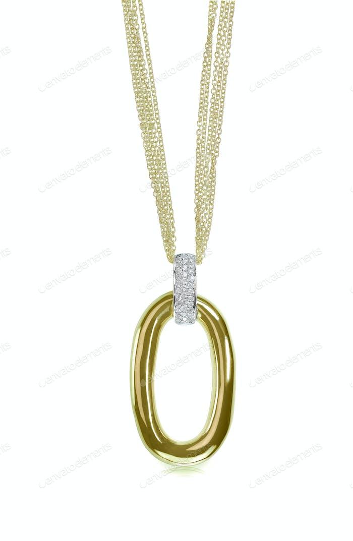 Multichain gold drop pendant necklace with diamonds
