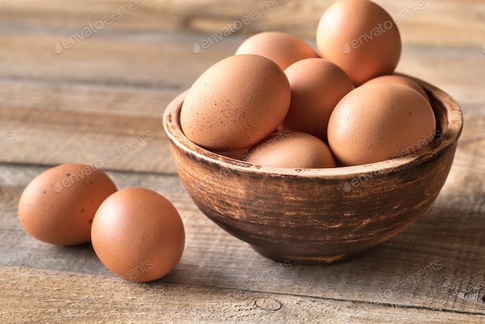 Bowl of raw chicken eggs